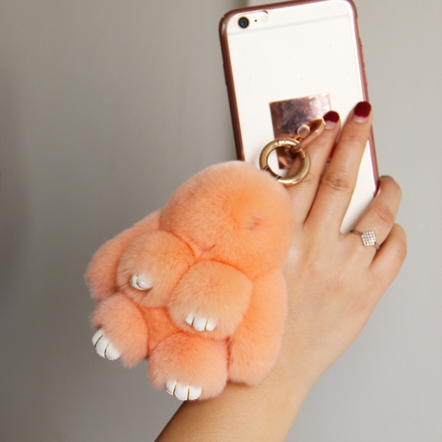 Fur rabbits keychains for women cute animal rex rabbit bunny pompon charm bags trinket tag animal key chains girl bunnies gift