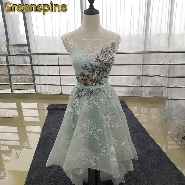 3b62a16407d Greenspine Cocktail Dress 2018 High Quality Elegant Knee-Length Contrast  Color Embroidery Illusion Beading A-Line C456