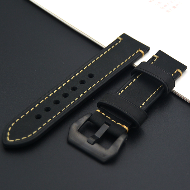 2017 excellent 20mm 22mm 24mm 26mm Black Genuine Leather Watch band High quality stainless steel buckle Watch Strap For Tissot maikes new product durable genuine leather watch band 19mm 20mm 22mm black casual watch strap stainless steel buckle for tissot