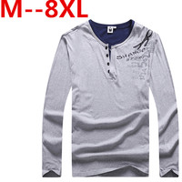 10XL 9XL 8XL 7XL 6XL 5XL Spring Fashion Brand V Neck Slim Fit Long Sleeve T