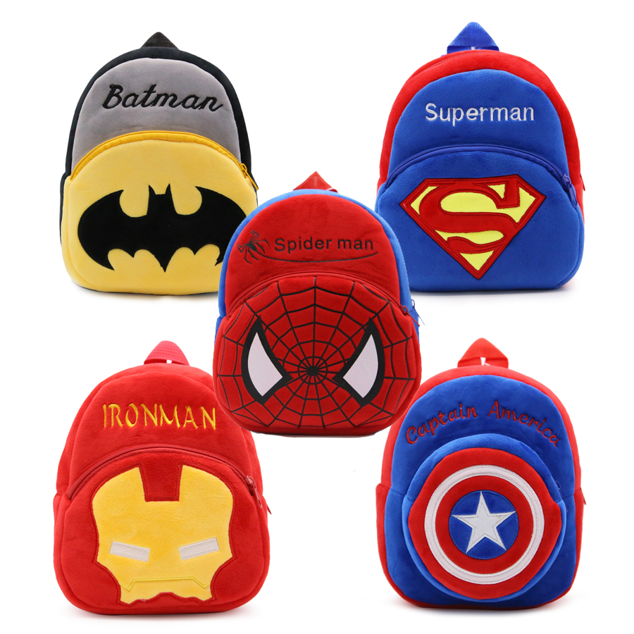 1-3 Years Baby Plush Backpack Cute Cartoon Superhero Spider Man Captain America Batman Plush Bag Soft Toy Children's School Bag dc marvel plush toys avengers superhero plush dolls captain america ironman iron man spiderman hulk plush soft toy spider man