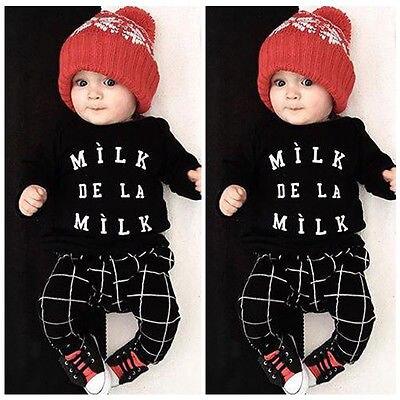 2016 Симпатичные новорожденных для маленьких мальчиков Обувь для девочек органический плед Топы корректирующие футболка + Брюки для девочек ...