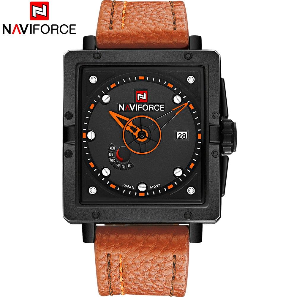 Prix pour NAVIFORCE 2017 Nouveau populaire marque homme montres de quartz de mode montre rectangle cadrans 30 M étanche orange en cuir bande