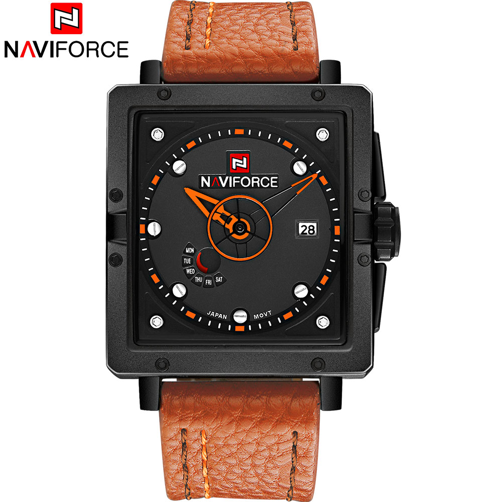 NAVIFORCE 2018 New Popular Brand Men Watches Fashion Sports Quartz Watch Square Dials 30M Waterproof Orange Leather Band Clock skmei 2017 new popular brand men watches fashion analog quartz watch 50m waterproof auto date black dials quality leather starp
