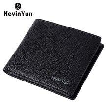 KEVIN YUN Designer Brand Men Wallet Short Genuine Leather Wallet Slim Pocket Wallet Pusre