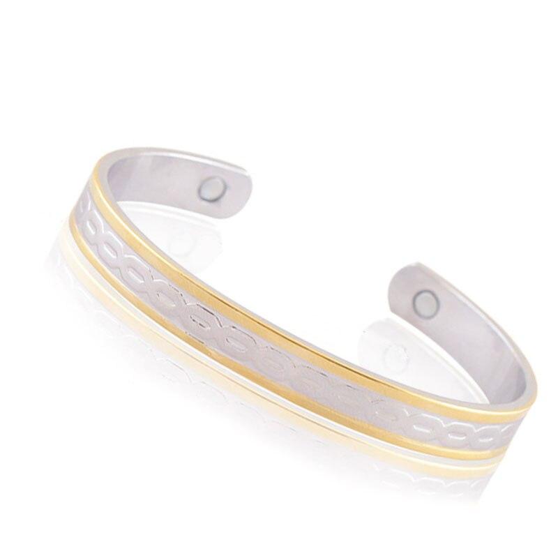 Magnetic Copper Bracelet Double Color Arthritis Bio Pain Relief Pattern Bangle