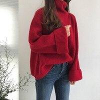 Steelsir Gothic 14 cm Rollkragenpullover für Frau Pullover Weiblichen Roten Strickwaren Punk Langarmshirts Kleidung
