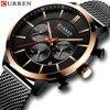 CURREN Luxus Marke Mode Quarz Uhr Herren Uhr Kausalen Sport Uhren Männer Chronograph und Datum Armbanduhr mit Stahl Mesh