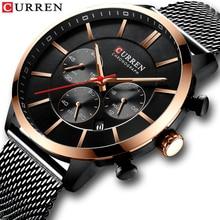 Часы наручные CURREN Мужские кварцевые, люксовые Брендовые повседневные спортивные, с хронографом и датой, со стальной сеткой