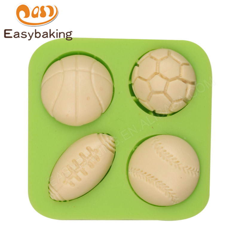 Ball Sports Series Mini Half Basketball Soccer Rugby and Tennis Ball Shape DIY Silicone Mold Fondant Cake Decoration Mould