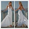 Vestido de noiva 2017 New Hot Sale Frete Grátis Chiffon Backless V Neck Halter Branco/Marfim Praia Vestidos de Casamento #1134