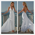 vestido de noiva 2017 New Hot Sale Free Shipping Chiffon Backless V Neck Halter White / Ivory Beach Wedding Dresses # 1134