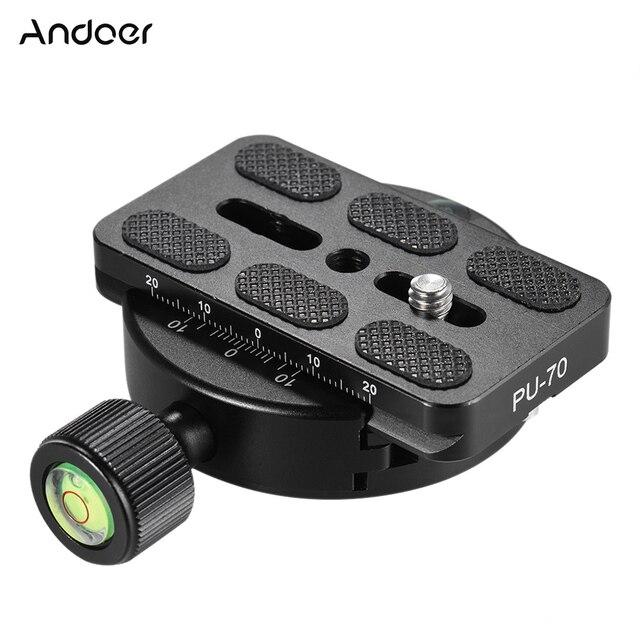 Andoer KZ 40 universal tripé cabeça disco braçadeira adaptador com/PU 70 placa de liberação rápida compatível para arca swiss liga alumínio