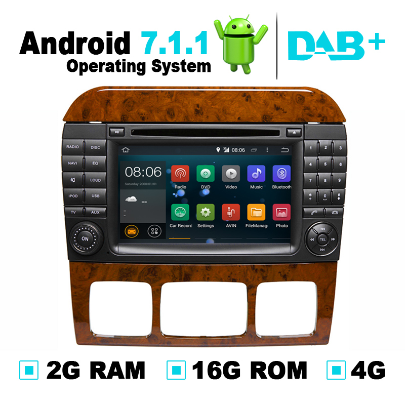 Android 7.1 Car DVD Radio Player <font><b>GPS</b></font> Navigation System Stereo Media <font><b>for</b></font> <font><b>Mercedes</b></font> W220 W215 S550 <font><b>S600</b></font> S350 S400 S280 S320 DVR OBD image