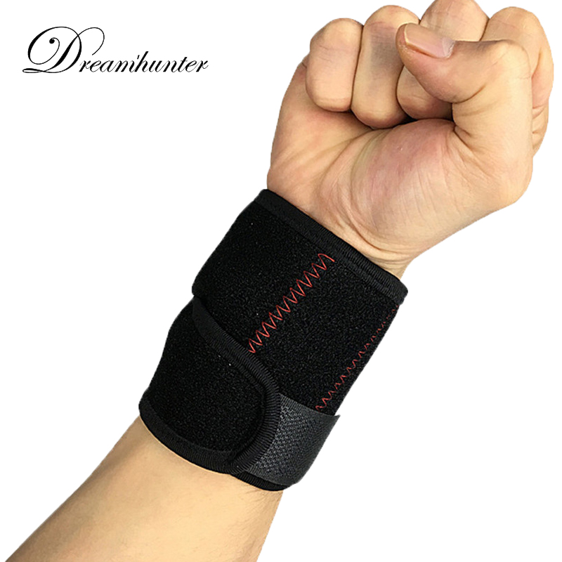 1 pcs Gym Wrist Support Straps Wraps Adjustable Wristband Brace Weight Lifting Badminton Sweatbands Spring support pressure 2017
