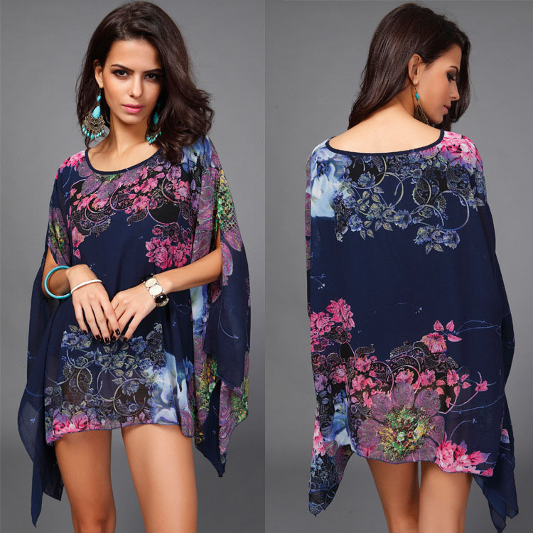 New 2016 Fashion Bohemian Flower Print Women Dress Casual Batwing Sleeve Chiffon Vintage Summer Dress Plus Size Clothing S1137