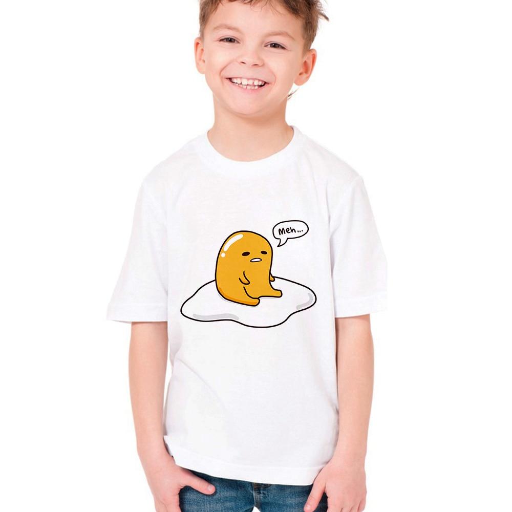 Суши Gudetama ленивый яйцо Kawaii детская футболка Gudetama Забавный принт детская футболка для маленьких мальчиков летняя футболка симпатичная одеж...
