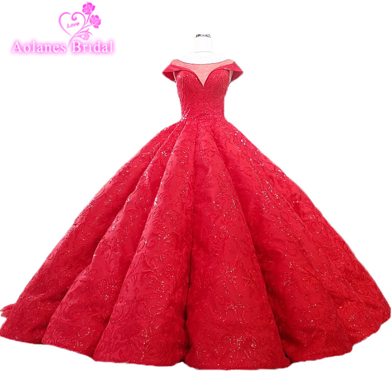 Cathedral Length Train Wedding Gowns: AOLANES 2018 Red Lace Sleeveless Cathedral Train Wedding