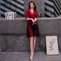 wei yin 2019 Cocktail Dresses Deep V Neck Wine Red Dress Half Sleeve Tassel Homecoming Dress Formal Dress Short Prom Gown WY1691
