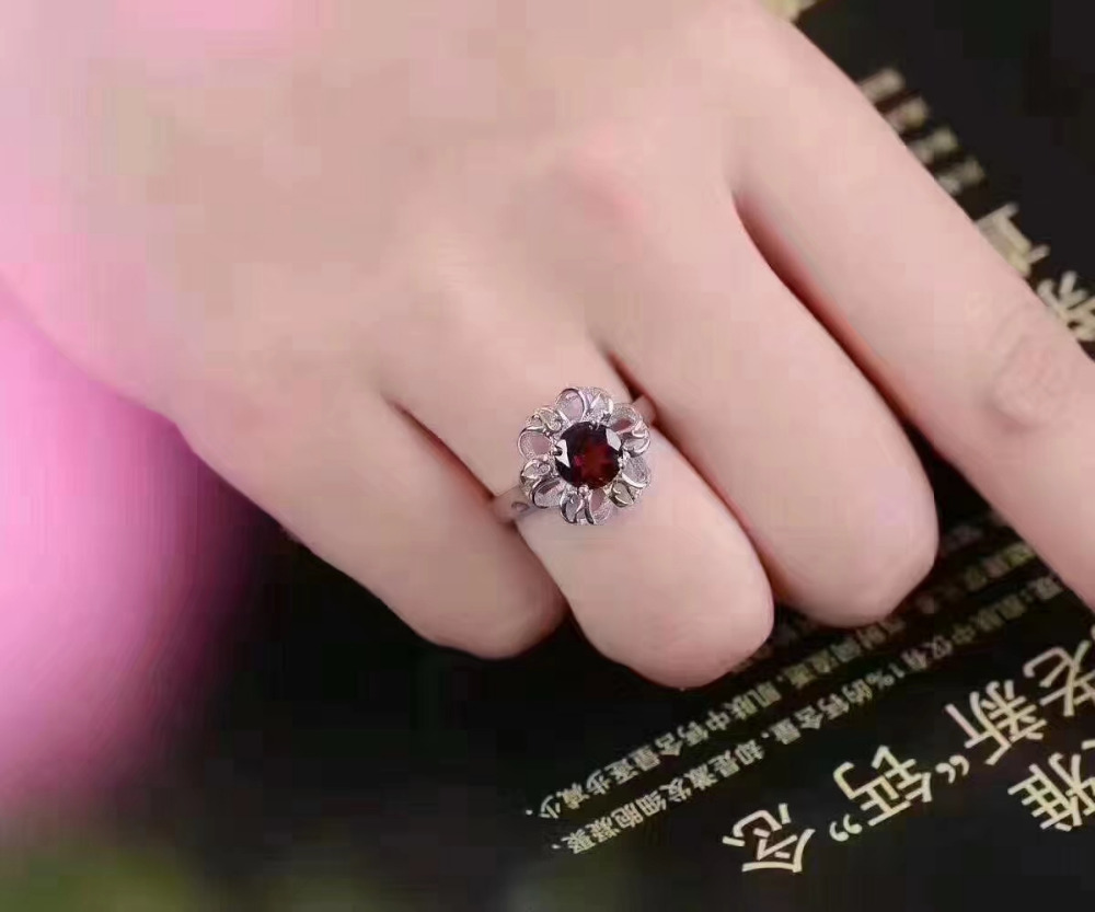 Natural red garnet gem Ring S925 Silver Natural Gemstone Luxury ...