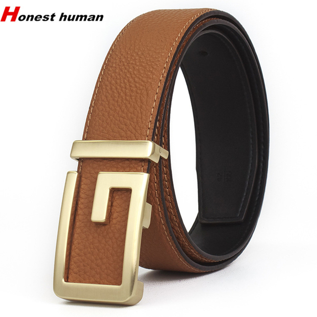 398ab42aa174 Hot High Quality Brand Designer Gold G Buckle Genuine Leather Strap For Men  Fashion Business Casual Male Belts For Jeans GG riem