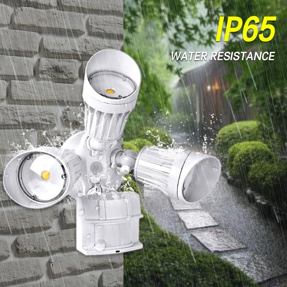 LED Wall Mount Flood Light Spot PIR Motion Sensor Detector Lamp 3 Levels Time Adjustable Waterproof Lamp For Basement Garage