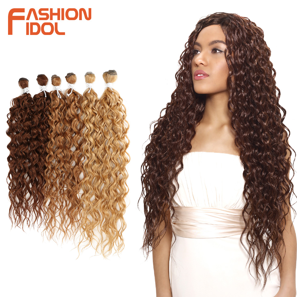 FASHION IDOL Synthetic Hair Extensions Afro Kinky Curly Hair Bundles Ombre Blonde 24-28inch 6 Pcs Heat Resistant For Black Women(China)