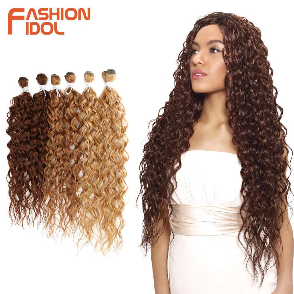 Мода IDOL синтетические волосы для наращивания афро кудрявые пучки вьющихся волос Омбре блонд 24-28 дюймов 6 шт. термостойкие для черных женщин
