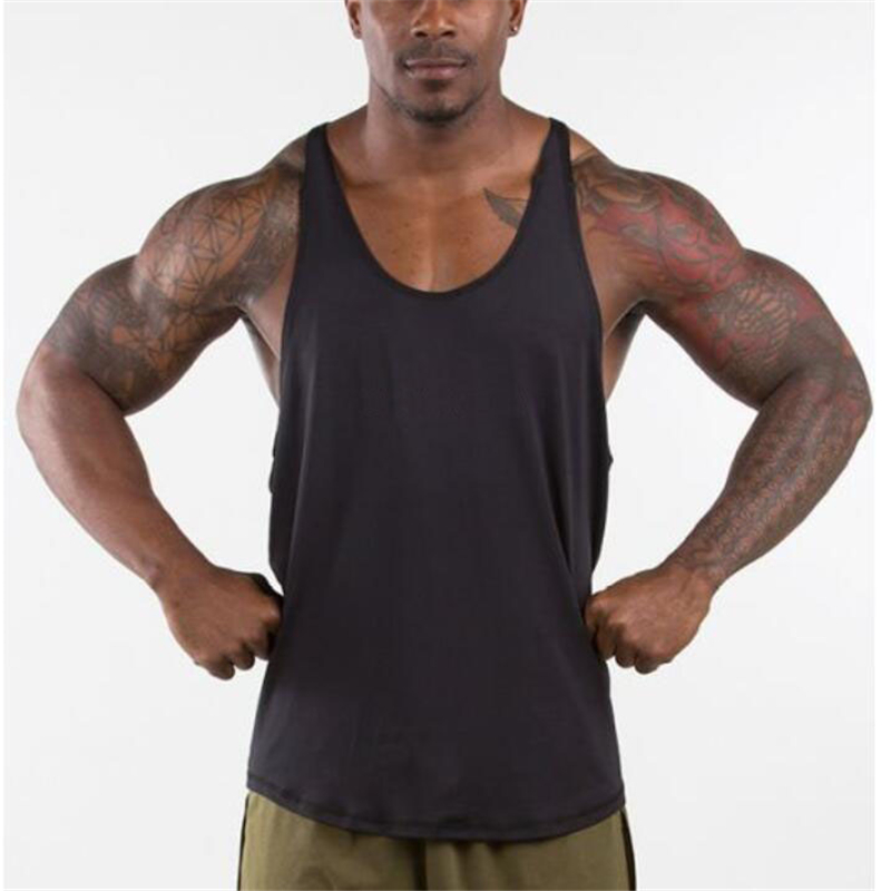 Muscleguys Gyms Singlets Mens Blank Tank Tops 100% Cotton Sleeveless Shirt,Bodybuilding Vest and Fitness Stringer Casual Clothes