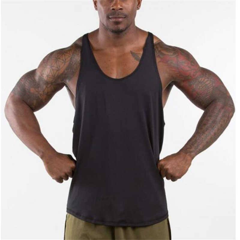 e54ace7e Muscleguys Gyms Singlets Mens Blank Tank Tops 100% Cotton Sleeveless Shirt,Bodybuilding  Vest and
