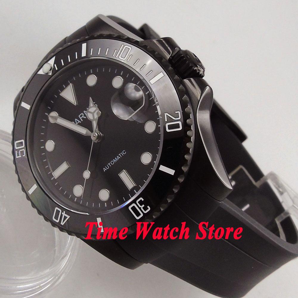 Parnis 40mm PVD case black dial luminous sapphire glass green ceramic bezel MIYOTA Automatic movement men's watch men 629 цена и фото
