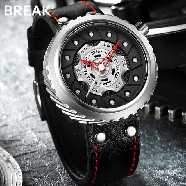 BREAK Men Quartz Sport Watches Man Casual Fashion Rubber Leather Strap Top Luxury Brand Waterproof Geek Unique Gift Wristwatch 4