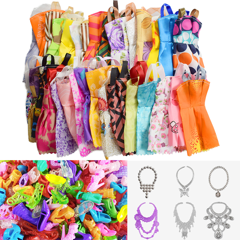 26 Item/Pcs=10 Pcs Beautiful Party Barbie Clothes Fashion Dress+6 Plastic Necklace+10 Pair Shoes For Barbie Doll Accessories