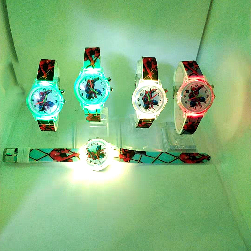 Spiderman Children Watches Cat Cartoon Electronic Colorful Light Source Child Watch Girls Birthday Party Kids Gift Clock Wrist