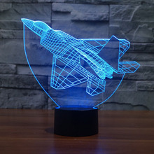 Creative Airplane Night Light and Lamp 7 Colors Chaning 3D LED Night Light Acrylic Atmosphere Lamp Novelty Lighting