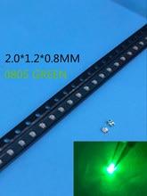 500 pces verde 0805 smd diodo emissor de luz diodos verde puro esmeralda 520-530nm 3.0-3.4v