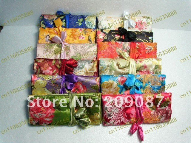 Free shipping! Lot 4 pcs New embroidery satin SILK flower JEWELRY ROLLS / bags