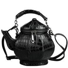 2017 new fashion funny teapot shaped handbag font b women s b font stone pattern leather