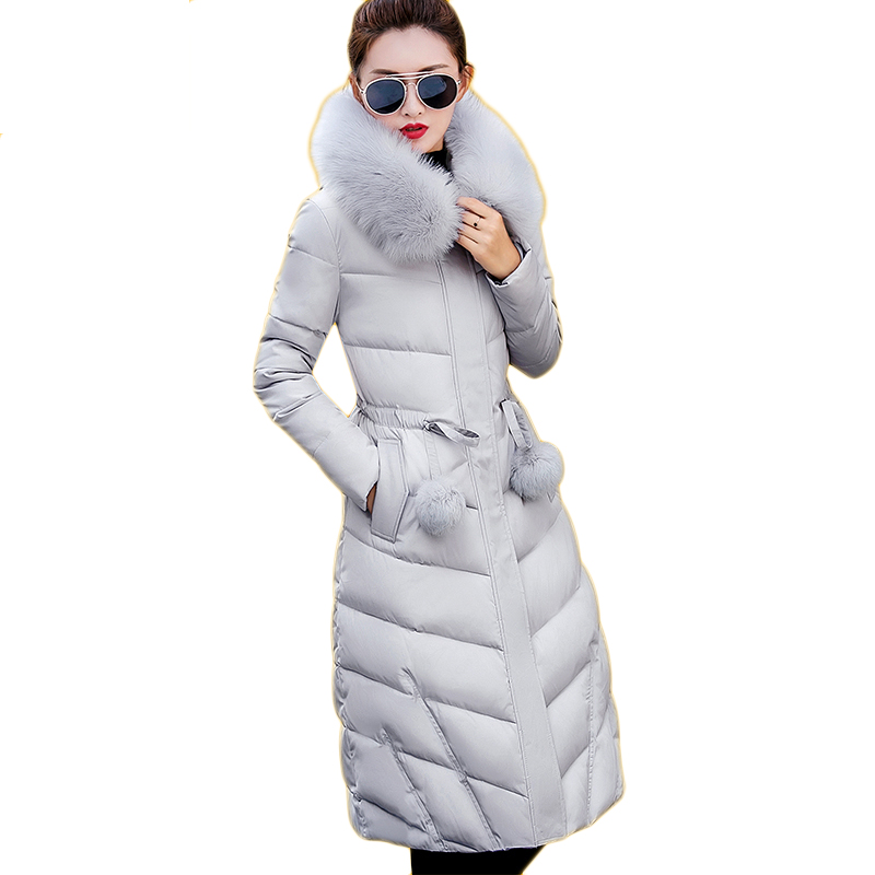Women Parka Winter Jacket  2017 New Down Cotton Padded Coat Slim Fur Collar Hooded Thick Warm Long Overcoat Female Parka  QW697 women elegant winter warm long coat down padded jacket slim fur collar hooded parka coats 2017 female slim long parka with belt