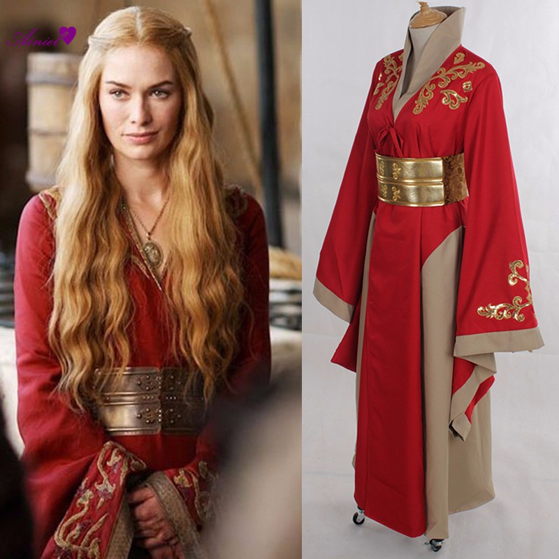 Game of Thrones Queen Cersei Lannister Cosplay Robe Halloween A Song of Ice and Fire Cosplay Costume Party luxe Dress CS190250 new game of thrones anime ice and fire backpack shoulder school bag package cosplay 45x32x13cm