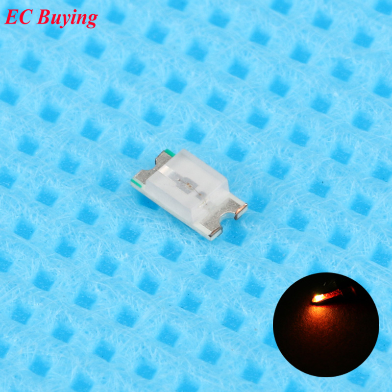 100pcs 0603 (<font><b>1608</b></font>) Orange <font><b>LED</b></font> <font><b>SMD</b></font> Chip Bulb Lamp Surface Mount SMT Bead Ultra Bright Light Emitting Diode <font><b>LED</b></font> DIY Practice Hight image