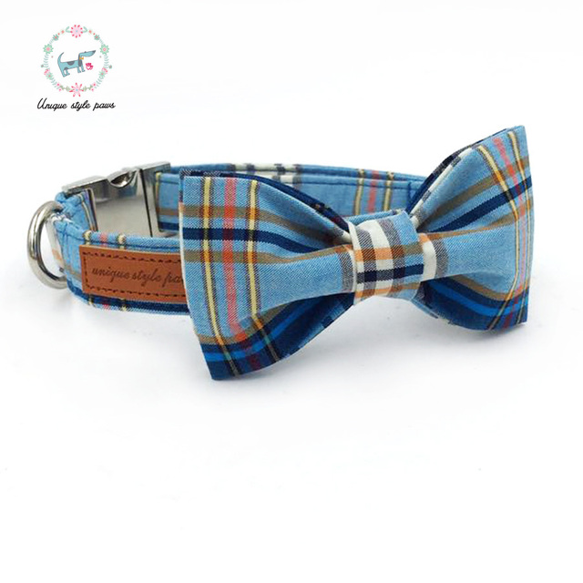 Fashion Plaid Collar and Leash set with Bow Tie 3