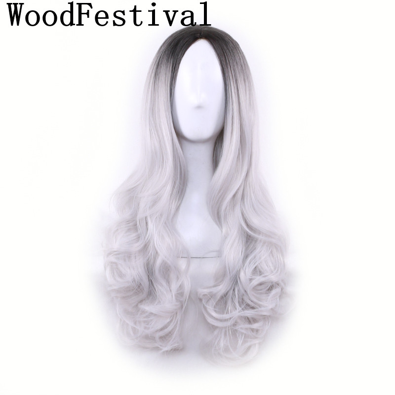 WoodFestival Wavy Cosplay Womens Long Wigs For Women Black Grey Ombre Hair Pink Green Purple Heat Resistant Synthetic Wig