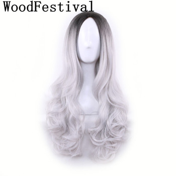 WoodFestival Wavy Cosplay Womens Long Wigs for Women Black Grey Ombre Hair Pink Green Purple Heat Resistant Synthetic Wig cosplay synthetic long fluffy purple gradient side bang wavy wig