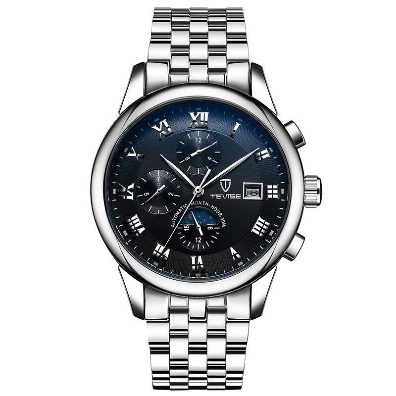 Tevise Luxury brand Men s mechanical automatic wrist watches waterproof steel Moon phase calendar Luminous horloge