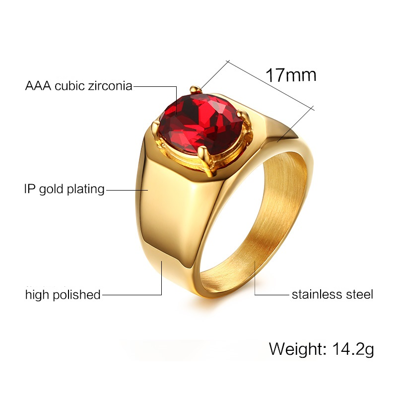 JHSL Male Men Big Rings High Class Oval Red Cubic zirconia Stone Gold Color 316L Stainless Steel Fashion Jewelry size 8 9 10 11