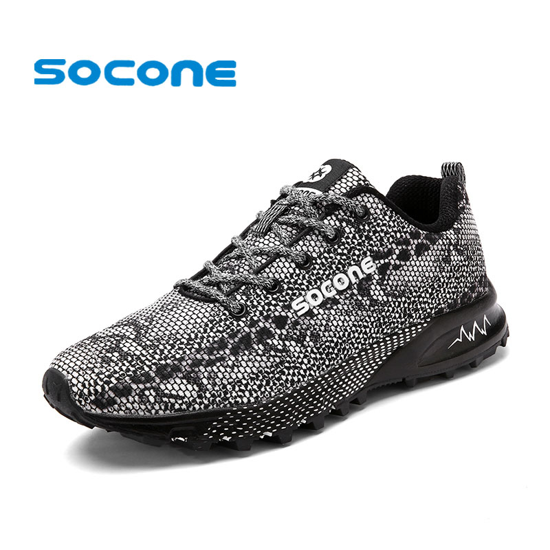 Socone New Arrival Men Lightweight Running Shoes Training Athletic Sport Sneakers Male Outdoor Lace-up Walking  Zapatos Hombre