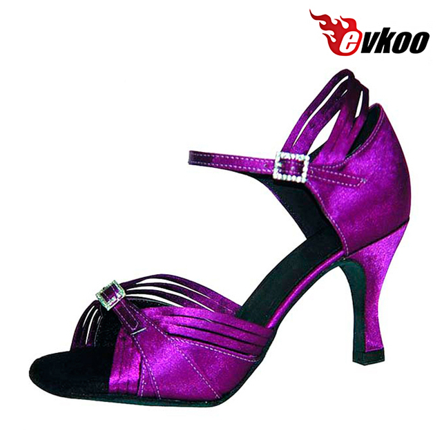 Evkoodance Brand Shoes Professional Size US 4-12 Dancing Satin Latin Purple  7cm Heel Height Dance Shoes For Women Evkoo-051 bb53f404bb2b