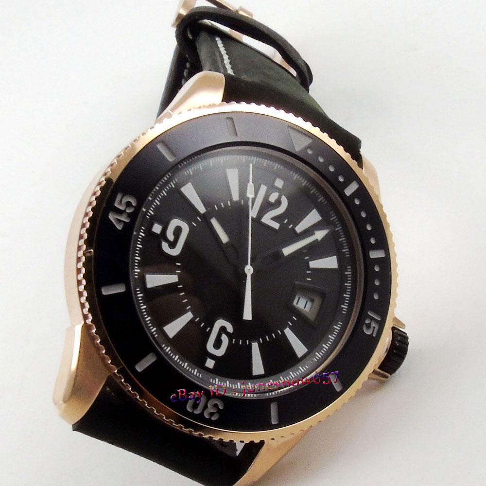 BLIGER 43mm black dial luminous date window ceramic bezel Gold case MIYOTA Automatic men's watch цена и фото