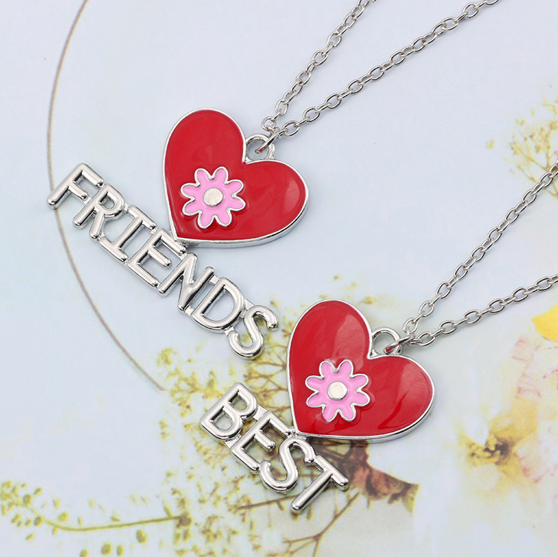 Best Friend Necklace Women Crystal Heart Tai Chi Crown Best Friends Forever Necklaces Pendants Friendship BFF Jewelry Collier 37